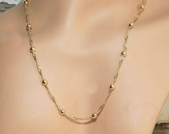 Singapore Style Chain Gold Plated Bead Style Necklace Chain Everyday Jewelry