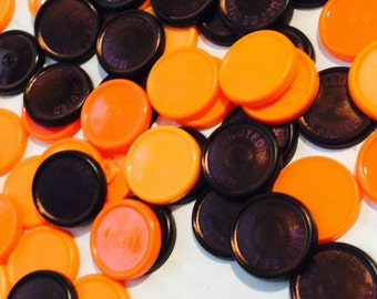 60 Orange and Black Medication Vial Caps Halloween Crafts