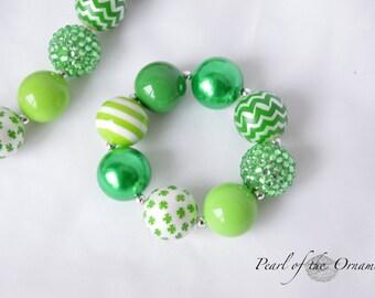 St. Patrick's Day chunky statement bracelet girl baby toddler women kelley green four leaf clover shamrock chevron birthday gift photo prop