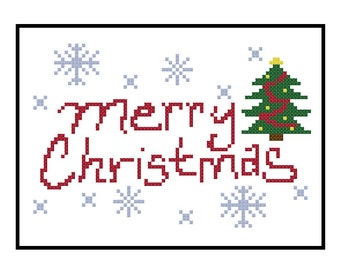 Christmas Cross Stitch Pattern, Merry Christmas PDF Pattern, Christmas Tree Instant Download, Easy XStitch Pattern