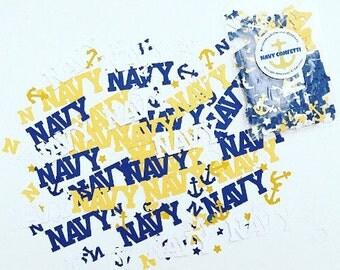 NAVY Paper Confetti- USNA Graduation- Anchor Confetti- Navy and Gold