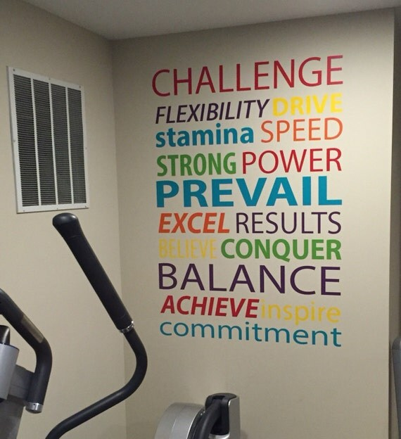 Workout Words: Gym Wall Decal Work Out Word Typography Quote