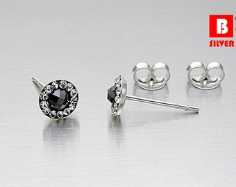 925 Sterling Silver Earrings, Black Round Earrings, Stud Earrings (Code : K30B)