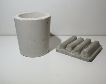 Concrete soap dish and tooth brush holder, Modern soap dish, Home houseware