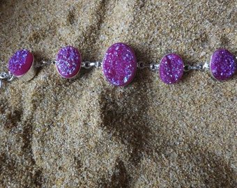Bright Pink Drusy, Druzy Agate and Sterling Silver Bracelet