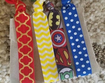 Superhero Fold Over Elastic Hair ties
