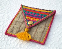 Pocket sqaure coin bag, wire holder, handmade, gift, bohemian, moroccan size 3X3 inches