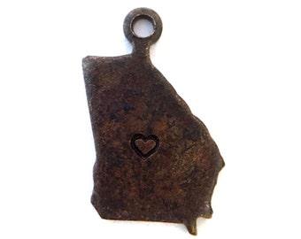 2x Antique Brass / Brown Patina Blank Georgia State Charms w/ Hearts - M073/H/AB-GA
