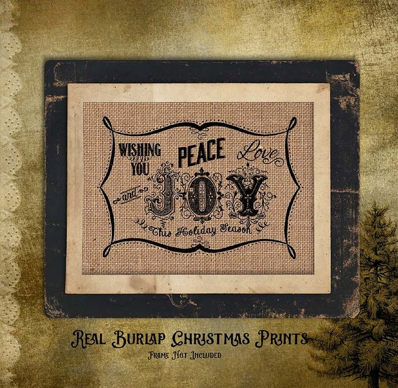 Christmas | Wishing you Peace Joy | Holiday |  Burlap Print | Personalized |