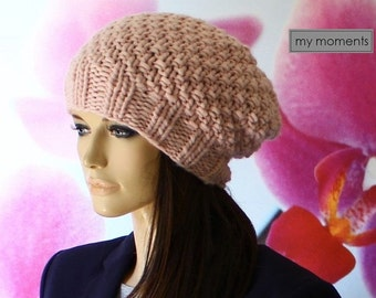HAT knitted, Wool, pastel pink