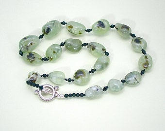 Hand Knotted Prehnite Necklace, green necklace, green and black, prehnite beads, black silk cord, toggle clasp,beaded necklace green jewelry
