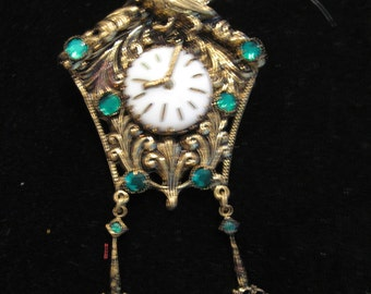 Vintage Articulated Coo Coo Clock Pin With Green Stones - Czechoslovakia