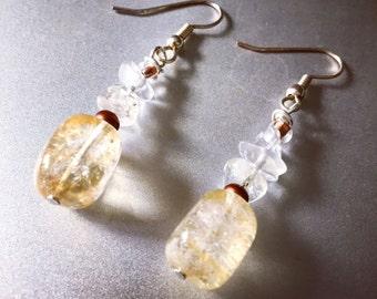 Citrine/moonstone/glass earrings