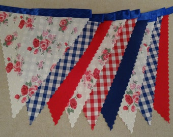 5m Length - Roses Gingham Red Blue on Blue Ribbon - Birthday Party Celebration