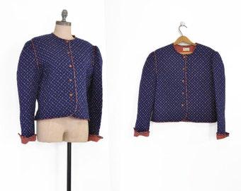Quilted Jacket • Vintage Navy Jacket • Vintage Vera Bradley Quilted Jacket • Regency Blue • Paisley Jacket • Navy Quilted Coat