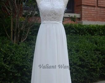 Ivory Lace Beading Chiffon Wedding Dress Length Keyhole Back Floor Length Wedding Gown