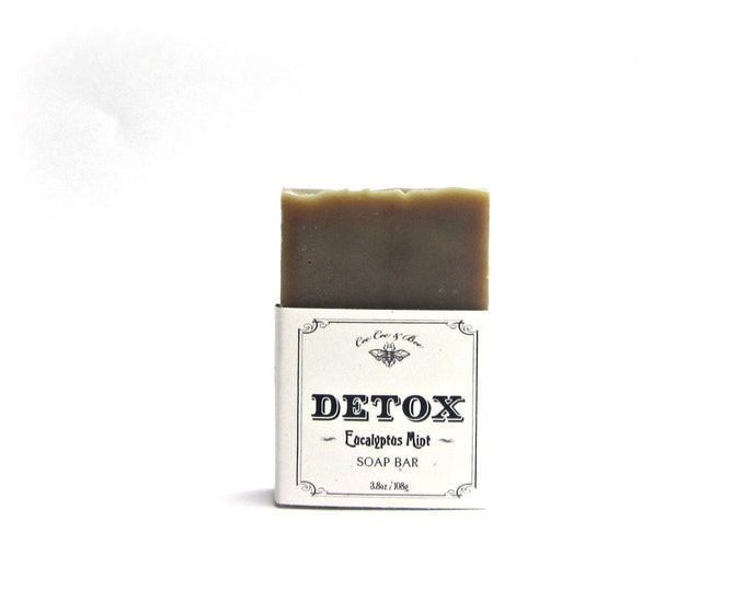 Detox Soap Bar 3.8oz Eucalyptus Mint Essential Oil Scent, Deodorizing, Cleansing, miracle soap! / Gift for the natural mom