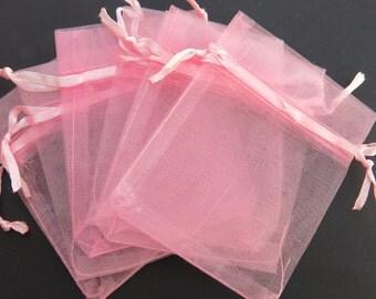 BULK! 100pc organza jewelry/wedding bags pink color (JC94B)