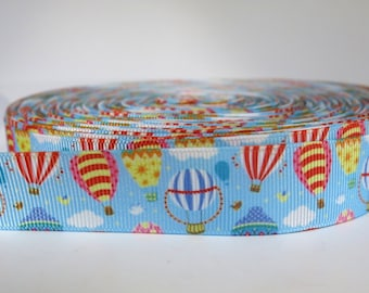 "5 yards of 7/8 inch ""Hot air balloon"" grosgrain ribbon"