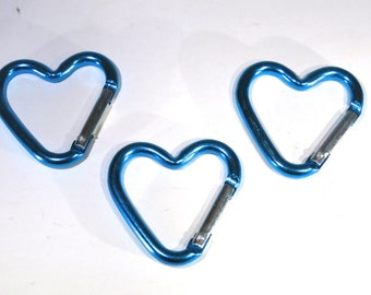 """5pc """"heart carabiner"""" clip-ons blue (BC775 -blue)"""