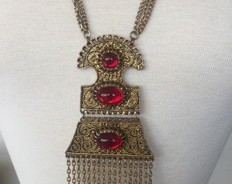 SALE Etruscan Faux Garnet Cabochon Tassel Necklace