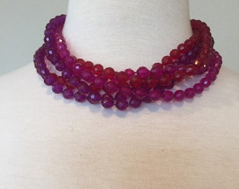 Sale Red Fuchsia Bead Necklace