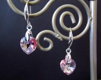 Swarovski Crystal Elements Heart Earrings - Light Pink & Silver Beaded Dangle Earrings - Handmade Christmas Gifts for Her - CrystalGirlz