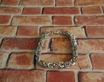 Silver & Gold Square Byzantine Weave Bracelet