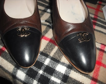 100% Authentic Chanel Cap Toe Shoes Size 8 1/2 Vintage Brown Black 8 8.5 39 38 Womens Pumps High Heels Stilettos