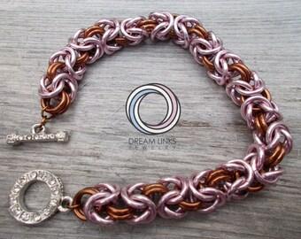 Pink and Brown Byzyantine Bracelet