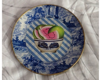 SALE! Blue & White Delft Style Decoupage Glass Plate by Althea Perley, Signed