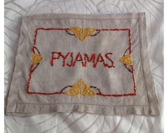 Vintage Linen Embroidered Pyjama Case