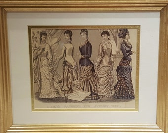 Framed and Matted Antique Godey's Wedding Fashions Print from the 1880's presented by Donellensvintage