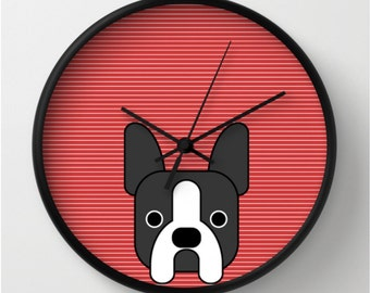 Boston terrier wall clock french bulldog wall clock red gift for dog lovers i love my dog modern wall decor red decoration frenchie dog
