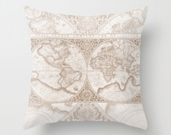 World Map Pillow - Brown, cream  historical world map, travel decor, wanderlust,  Vintage Maps, unique, colorful, rectangular