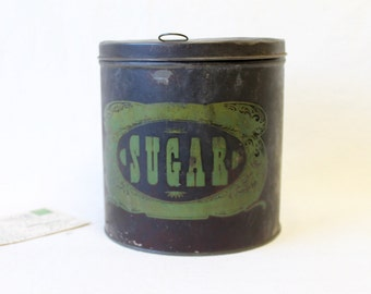 1900s Sugar Round Metal Tin with Cover, Antique Kitchen Container,  Industrial Rustic Storage