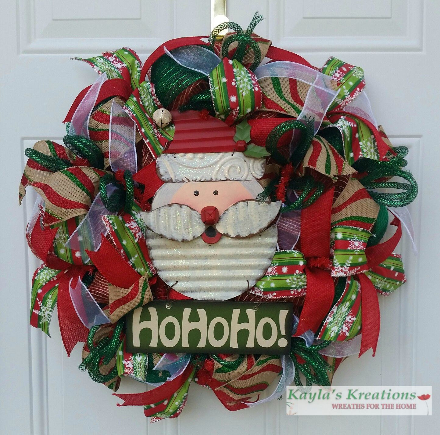 Burlap christmas wreath santa wreath by kaylaskreationstx Burlap xmas wreath