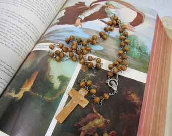 Vintage Olive Wood Rosary Bead Strand Crucifix