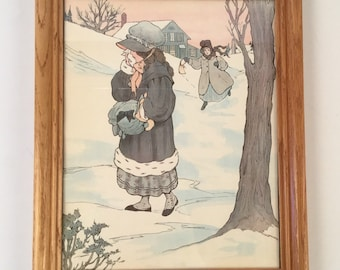 Vintage Nursery Rhyme Framed Print of Lucy Locket - Mother Goose Illustration - Old Fashioned Young Girl, Grey Coat, Bonnet, Snow and Trees