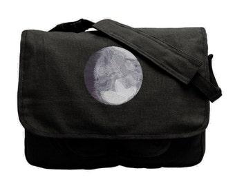 Lunar Light Embroidered Canvas Messenger Bag