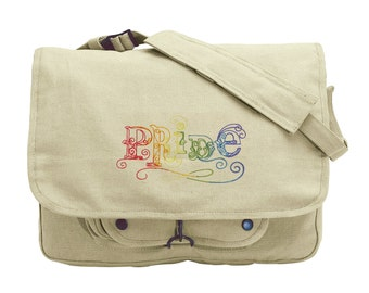 Pride Embroidered Canvas Messenger Bag