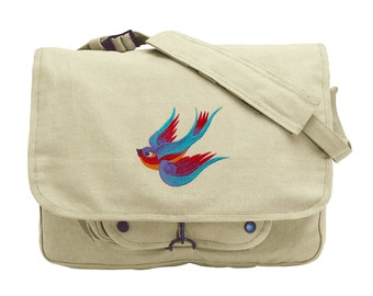 Swooping Sparrow Embroidered Canvas Messenger Bag