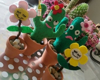 Handstitched Felt Cacti Buddies Quirky Home Accessories Gift With A Touch Of Dark Humor