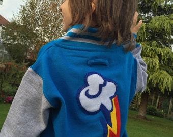 Customised Cutie Mark Kids Varsity Jacket, Brony, Pegasister, My Little Pony, Friendship Is Magic
