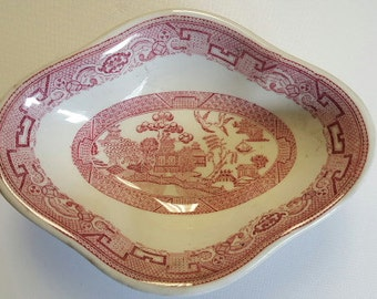 RARE Oval Red Willow Bowl manufactured by Sterling China Made for York Equipment Co. Inc. New York