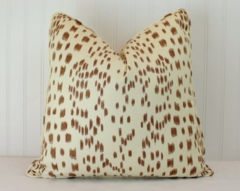 One or Both Sides - Brunschwig & Fils Les Touches Tan Pillow Cover with Self Cording