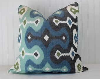 One or Both Sides - ONE Schumacher Darya Ikat Sky Pillow Cover with Self Cording