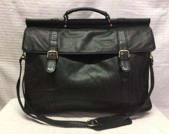 Black Leather Briefcase, Organizer Bag,top handle,shoulder bag