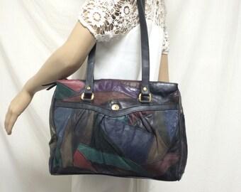 Patchwork leather purse, bag,green, red, blue, black,bags,purses, shoulder bag