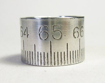 Ruler Ring, Size 9 1/2, Folding ruler Ring, Steampunk Ring, Aluminium Ruler, Aluminium Ring, Mens Ring, Crafstman Ring